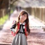 桜×ランドセル姿